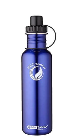 Produktbild der 800ml einwandigen Trinkflasche aus Edelstahl in Blau von ECOtanka mit 2 teiligem Sport-Verschluss aus PP5 mit Trinknippel für schnelles Trinken. Der ideale Begleiter für die Arbeit oder Freizeit. Für Fahrrad- und Rucksackgetränkehalterungen geeignet.