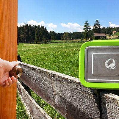 Bild der 2,0l Brotdose aus Edelstahl in Silber von ECOtanka mit Verschlussrahmen in Grün und zusätzlicher Dichtung. Ideal für einen sicheren Transport oder zur Aufbewahrung von Lebensmitteln. Luftdicht verschlossen für eine langanhaltende Frische.