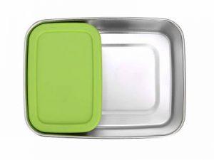 Produktbild der 2000ml Brotdose aus Edelstahl in Edelstahl-Optik von ECOtanka, mit Verschlussrahmen aus PP5 in Grün, pocketBOX 0,65l mit Deckel in grün aus lebensmittelechtem Silikon, die perfekten Begleiter um deine Mahlzeiten und Snacks sicher zu transportieren