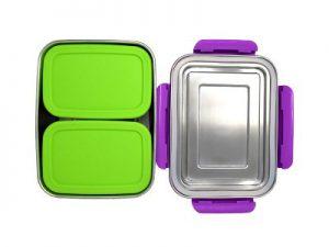 Produktbild der 2000ml Brotdose aus Edelstahl in Edelstahl-Optik von ECOtanka, mit Verschlussrahmen aus PP5 in Violett, pocketBOX 0,65l mit Deckel in grün aus lebensmittelechtem Silikon, die perfekten Begleiter um deine Mahlzeiten und Snacks sicher zu transportieren