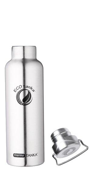 Produktbild der thermoTANKA 0,8l Isolierflasche aus Edelstahl von ECOtanka mit Edelstahl-Wave-Verschluss und Tragebügel