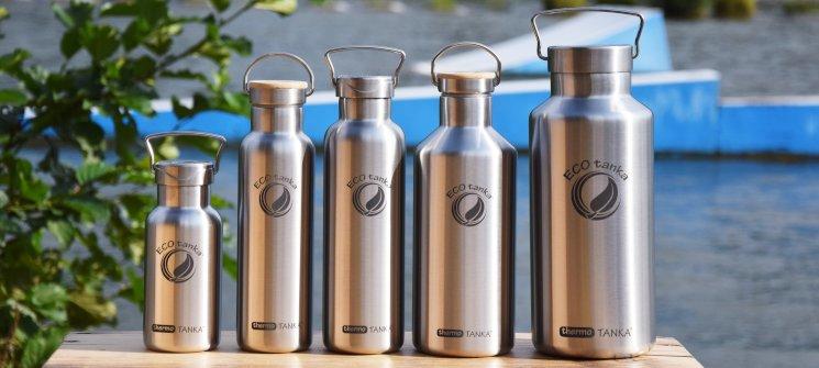 Die ECOtanka thermoTANKA Edelstahl Thermoflaschen mit einem Füllvolumen von 350ml, 600ml, 800ml, 1200ml und 2000ml