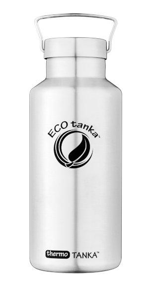 Produktbild der 2,0l thermoTANKA, Isolierflasche aus Edelstahl von ECOtanka mit Edel-Verschluss und einem silbernen Tragebügel, perfekte Trinkflasche für Wanderungen