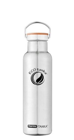 Produktbild der 0,6l thermoTANKA, Isolierflasche aus Edelstahl von ECOtanka mit Edelstahl-Bambus-Verschluss und Tragebügel