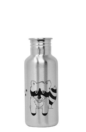 Produktbild der 600ml einwandigen Racoon Trinkflasche aus Edelstahl in Silber mit gezeichnetem Waschbär von ECOtanka. Der robuste Begleiter mit hingezeichnetem Design für Kindergarten, Schule, unterwegs oder bei der Arbeit für Kinderhände geeignet.