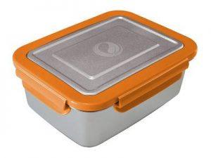 Produktbild der 2,0l Brotdose aus Edelstahl in Silber von ECOtanka mit Verschlussrahmen in Orange und zusätzlicher Dichtung. Ideal für einen sicheren Transport oder zur Aufbewahrung von Lebensmitteln. Luftdicht verschlossen für eine langanhaltende Frische.