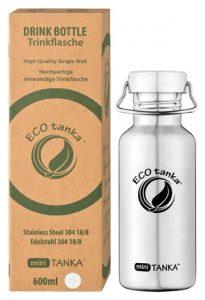 ECOtanka miniTANKA 600ml Edelstahl Kindertrinkflasche mit Edelstahl-Wave-Verschluss und Verpackung